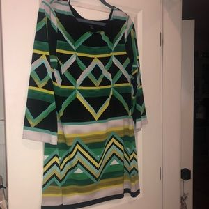 Green/yellow/black/ivory 3/4 bell sleeve dress